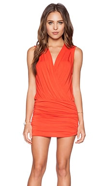 krisa Shirred Surplice Mini Dress in Sunrise