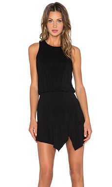 krisa Asymmetrical Mini Dress in Black
