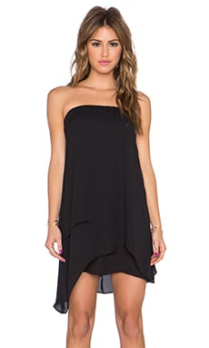 krisa Asymmetrical Tube Mini Dress in Black