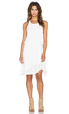 krisa Cross Back Asymmetrical Dress in White