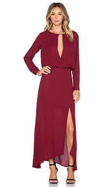 krisa Deep V Slit Maxi Dress in Port