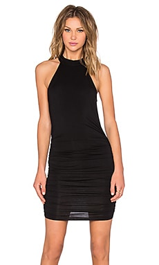 Turtleneck Ruched Dress in Black