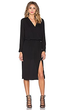 Surplice Midi Dress in Black