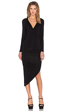 krisa Asymmetrical Surplice Dress in Black
