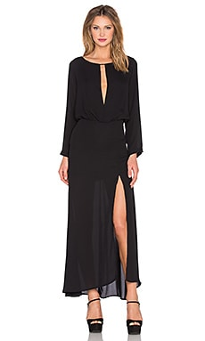 krisa Deep V Slit Maxi Dress in Black