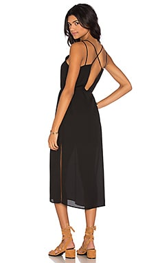 krisa Cross Back Midi Dress in Black