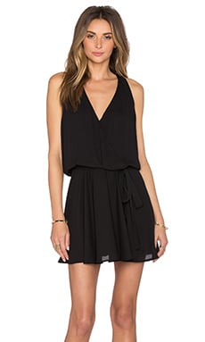 Surplice Flounce Dress in Black