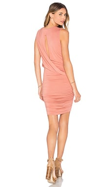 krisa Twisted Drape Sheered Mini Dress in Ocher
