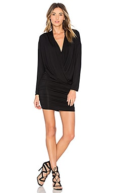 Surplice Sheered Mini Dress in Black