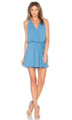 krisa Surplice Flounce Dress in Fountain
