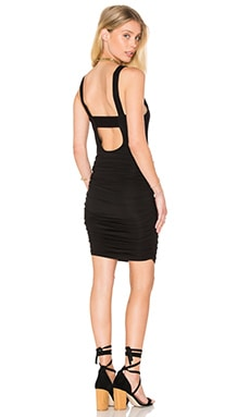 krisa Ruched Mini Dress in Black
