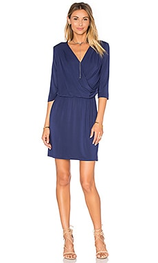 Deep V Surplice Dress in Sea