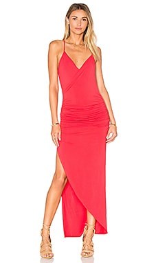krisa Asymmetrical Ruched Maxi Dress in Sizzle
