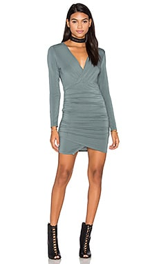 krisa Asymmetrical Surplice Mini Dress in Balsm