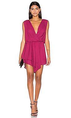 krisa Asymmetrical Surplice Mini Dress in Ruby