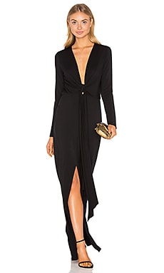 Deep V Tie Front Maxi Dress in Black