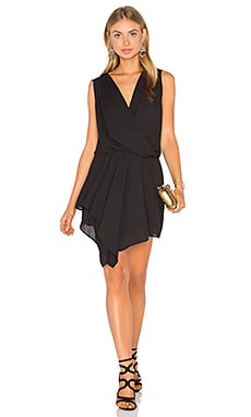 Asymmetrical Surplice Dress in Black