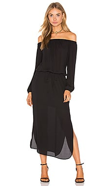 Off Shoulder Midi Dress en Noir