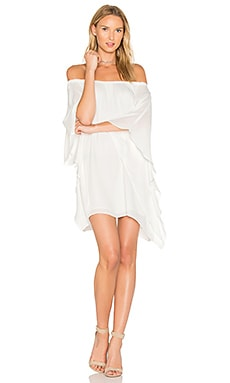 Draped Off Shoulder Dress in White