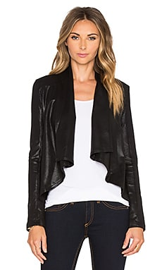 krisa Coated Drape Jacket in Black