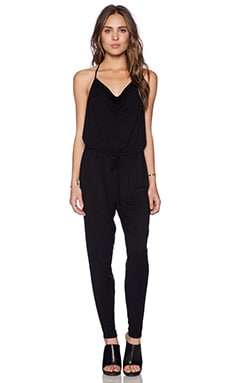 krisa Drape Jumpsuit in Black