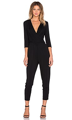 krisa Surplice Jumpsuit in Black