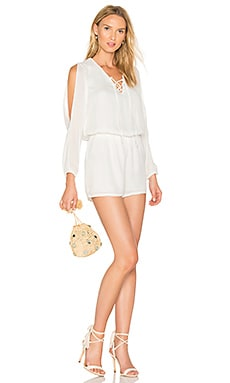 Lace Up Romper in White