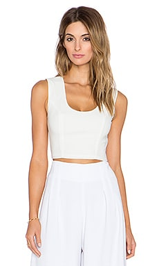 krisa Open Back Crop Top in Ivory