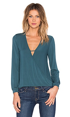 krisa Long Sleeve Surplice Top in Twilight