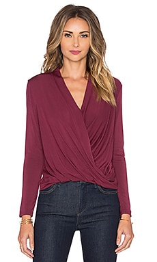 krisa Long Sleeve Surplice Top in Bloom