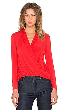 Long Sleeve Surplice Top in Siren