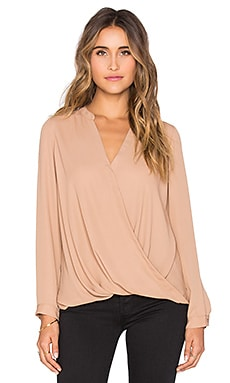 Surplice Long Sleeve Blouse in Camel