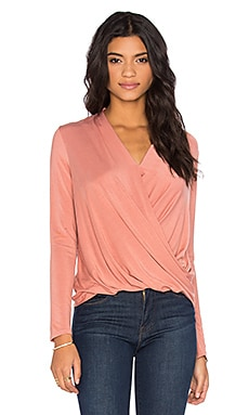 Long Sleeve Surplice Top in Ocher