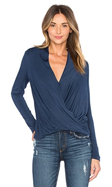krisa Long Sleeve Surplice Top in Eclipse