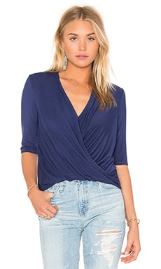 krisa Surplice Half Sleeve Top in Sea
