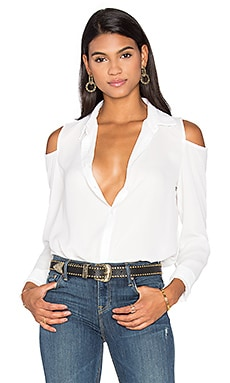 Cutout Shoulder Button Up Top en Blanc