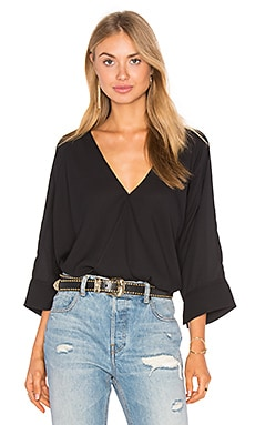 Oversized Surplice Top en Noir