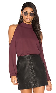 Cold Shoulder Turtleneck Top in Winterberry