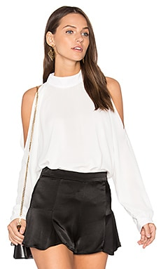 Cold Shoulder Turtleneck Top in White
