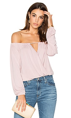 Off Shoulder Surplice Top in Novelle