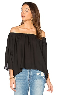 Off Shoulder Drape Top en Noir