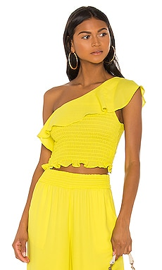 One Shoulder Ruffle Top krisa $128