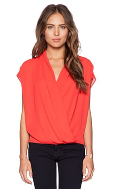 krisa Surplice Short Sleeve Top in Lipstick