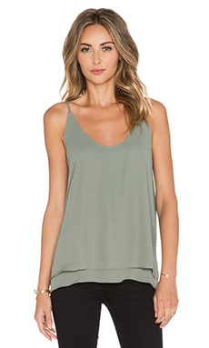 krisa Double Layer Cami in Moss