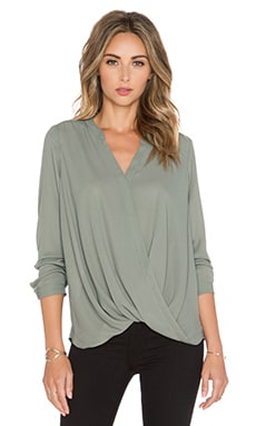krisa Surplice Long Sleeve Top in Moss