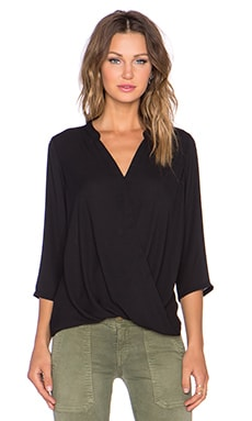 krisa Surplice 3/4 Sleeve Top in Black