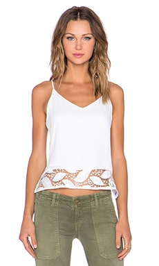 krisa Lace Cami in White Leaves