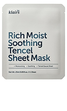 RICH MOIST SOOTHING TENCEL SHEET MASK 시트 마스크 Klairs $3 베스트 셀러
