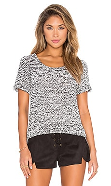 Ebba Crop Sweater in Black & White Melange