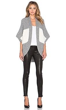 Kathryn McCarron Tramell Dolman Sleeve Wrap in Grey & White Colorblock